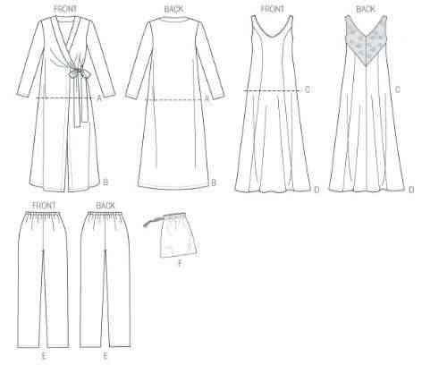 2827ab401 Butterick Patterns B5963 E5 - Patrones de costura para camisones, batas,  camisetas, pantalones y bolsa guardapijamas, color blanco